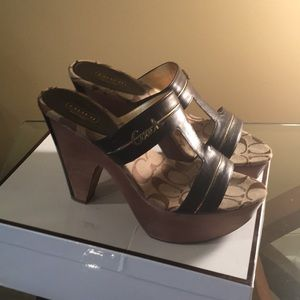 Coach Shoes - Coach Chocolate Brown Leather Clogs